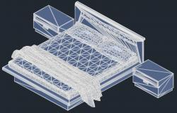 Drawing of 3d  double bed in autocad