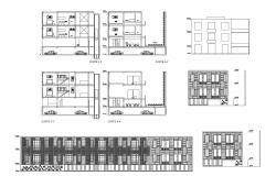 Drawing of Apartment with elevation and section in dwg file