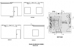 Drawing of Bedroom ceiling design with key plan in dwg file