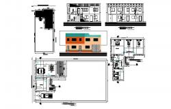 Drawing of Bungalow 30mtr x 15mtr with section and elevation in AutoCAD