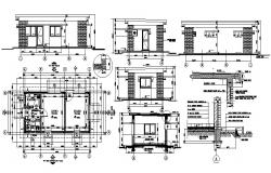 Drawing of Guardroom with different section and elevation in dwg file