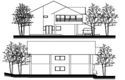 Drawing of House design with elevation details in autocad