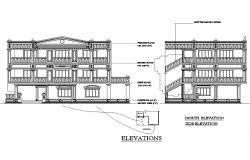 Drawing of Multi storey Building with Different Elevation in Autocad