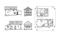 Drawing of Residential house with different elevation and section in autocad file