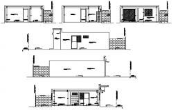 Drawing of Residential house with section and elevation in dwg file