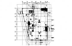 Drawing of Restaurant plan with detail dimension in dwg file