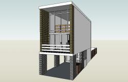 Drawing of a 3d residential house in SketchUp file