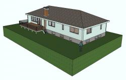Drawing of a 3d residential house in skp file