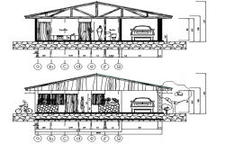 Drawing of a house design with detail dimension in dwg file