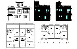 Drawing of a house with different elevation in dwg file