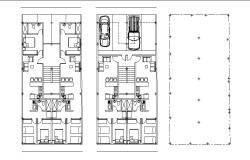 Drawing of a house with furniture details in dwg file