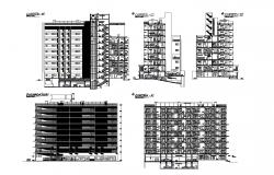 Drawing of a multistorey residential building with elevation and section in dwg file