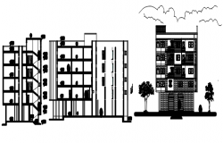 Drawing of a residential building with elevation in AutoCAD