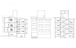 Drawing of a row house plan with elevation and section details