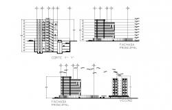 Drawing of building with elevation details in dwg file
