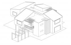 Drawing of bungalow design in AutoCAD