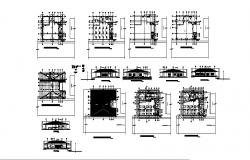Drawing of coffeehouse 15.05mtr x 14.50mtr with section and elevation in dwg file