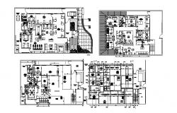 Drawing of commercial building plan with interior design in dwg fil