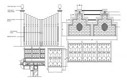 Drawing of gate design with detail dimension in autocad