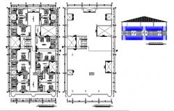 Drawing of hotel 15mtr x 25mtr with front elevation in dwg file