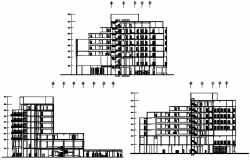 Drawing of hotel building in AutoCAD