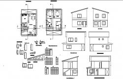 Drawing of house 6.00mtr x 7.50mtr with section and elevation in dwg file
