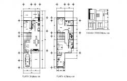 Drawing of house 6.47mtr x 16.43mtr with elevation in dwg file