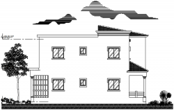 Drawing of house design with elevation details in dwg file