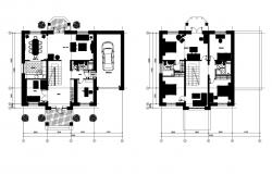 Drawing of house plan 15.000mtr x 14.400mtr with detail dimension in dwg file