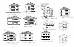 Drawing of house plan with elevation details in dwg file