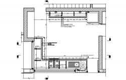 Drawing of kitchen plan with detail dimension in autocad