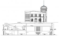Drawing of palace with section and side elevation details in dwg file