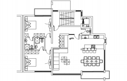 Drawing of residential house with furniture details in autocad
