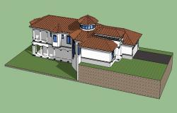 Drawing of the 3d bungalow in SketchUp file