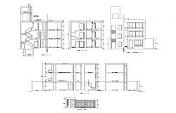 Drawing of the apartment with elevation and section in dwg file