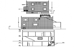 Drawing of the bungalow with elevation and section details in AutoCAD