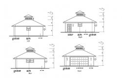 Drawing of the house with different elevation in dwg file