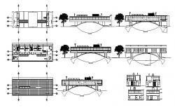 Drawing of the house with different section and elevation in AutoCAD