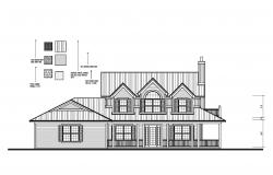 Drawing of the house with elevation in AutoCAD