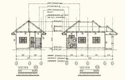 Drawing of the house with elevation in AutoCAD file