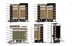 Drawing of the multistorey hotel building with different elevation in dwg file