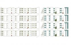 Drawing of the residential building with elevation details in dwg file