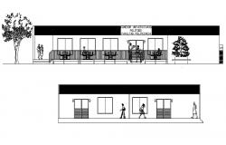 Drawing of the restaurant with elevation in dwg file