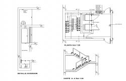 Drawing of the staircase with detail dimension in dwg file