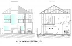 Drawing of villa 10.50mtr x 9.70mtr with elevation and section