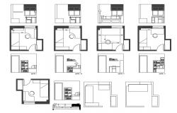 Drawing room furniture layout and distribution plan details dwg file