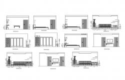 Drawing room of house section and furniture layout details dwg file