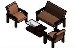 Drawing room small sofa set 3d furniture blocks details dwg file