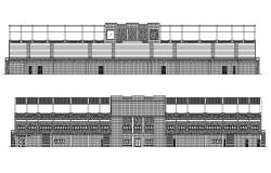 Drawings details of sport building elevation dwg autocad file
