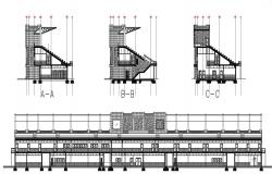 Drawings details of sports building elevation and section dwg file